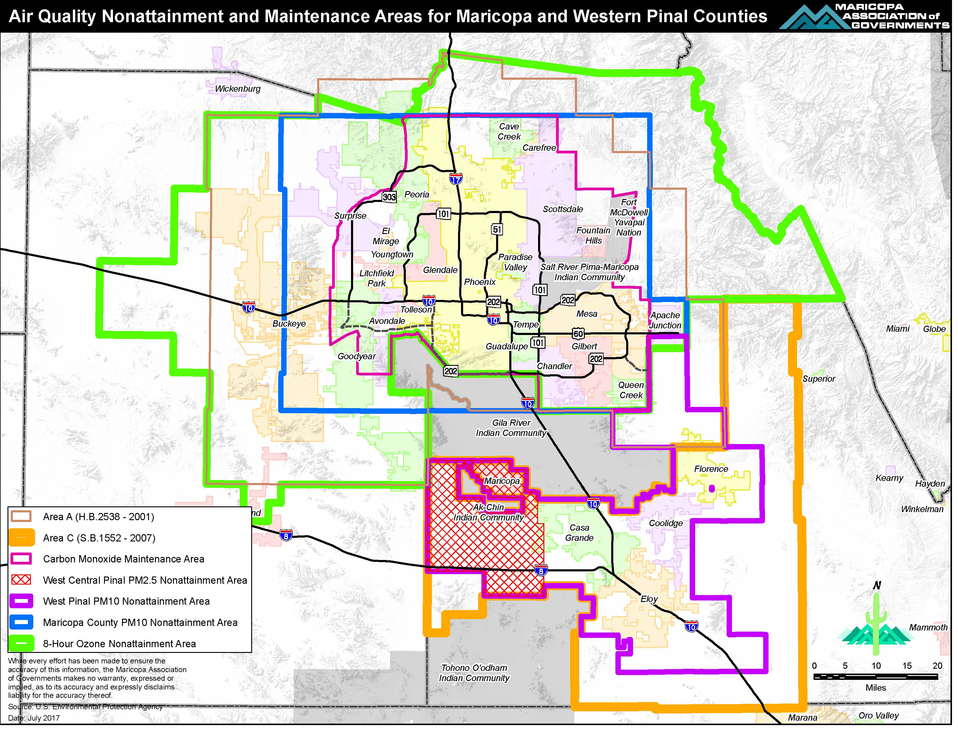 Air Quality Nonattainment and Maintenance Areas for Maricopa and Western Pinal Counties