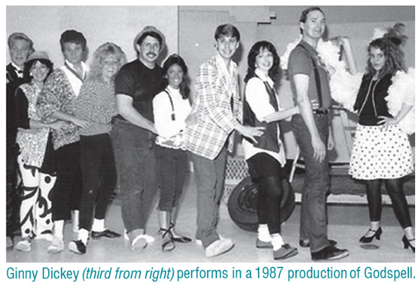 Ginny Dickey (third from right) performs in a 1987 production of Godspell.