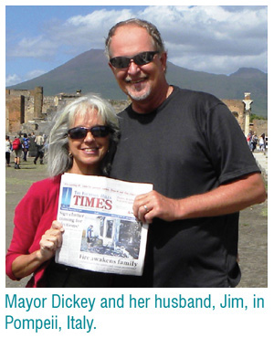 Mayor Dickey and her husband, Jim, in Pompeii, Italy.