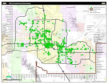 Unsheltered Homeless Map Maricopa County 2017