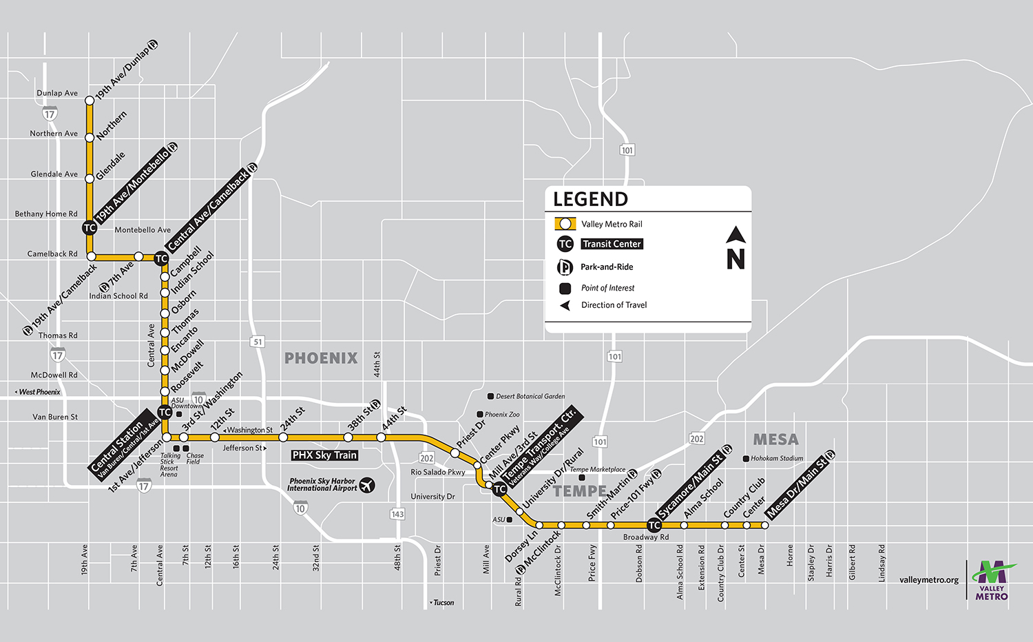 Valley Metro Light Rail System Map